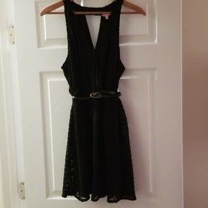 Candies Black mini w/lacy overlay & belt